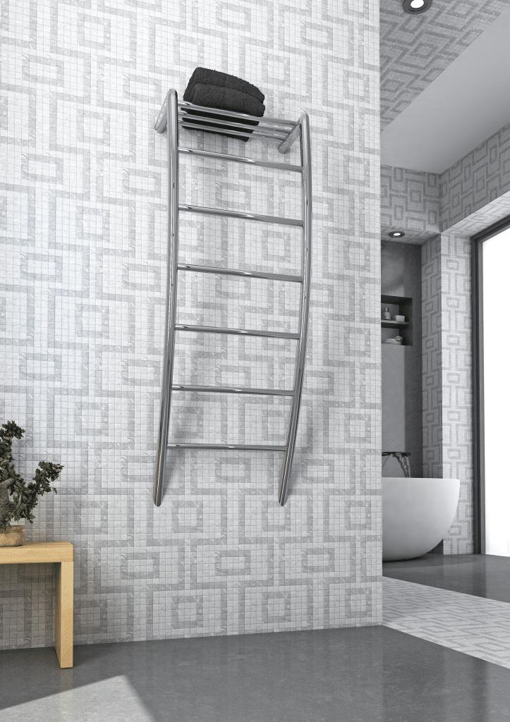 Thermorail Heated Towel Rail | Electric Towel Warmer | Towel rail in bathroom | RSH38 | towel rail Australia | Towel rail with shelf