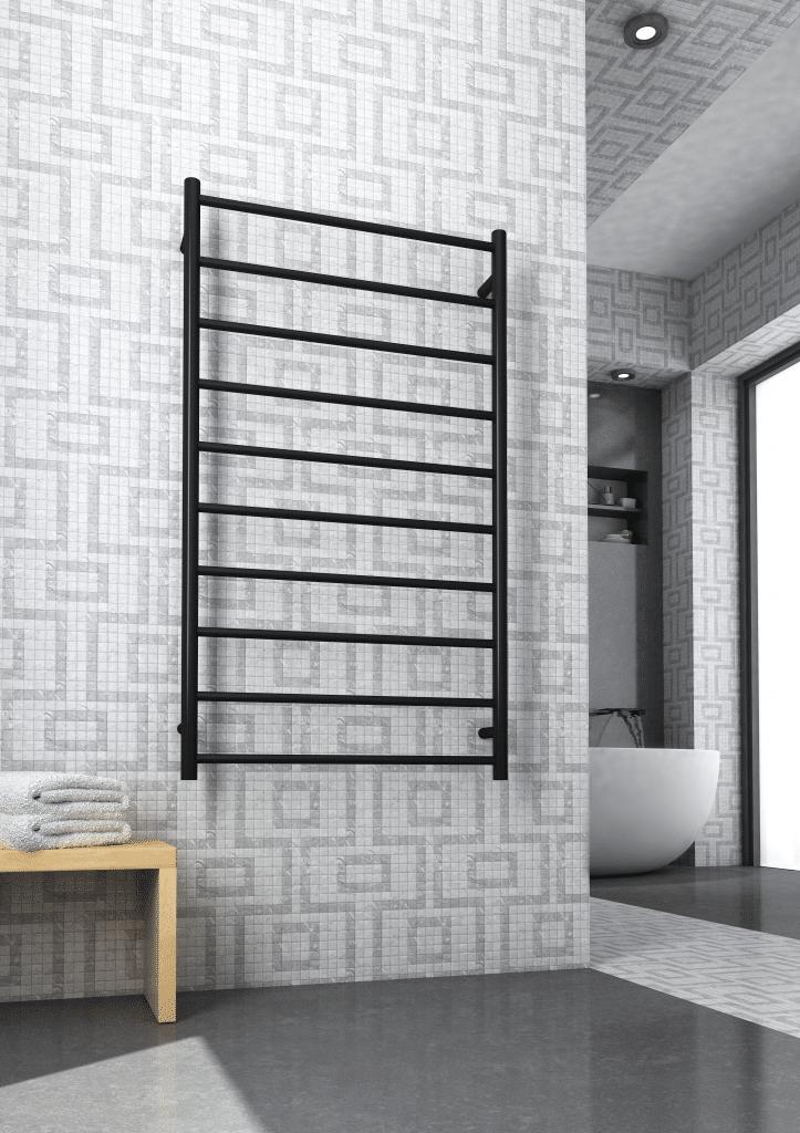 Thermorail Heated Towel Rail | Electric Towel Warmer | Towel rail in bathroom | SR69MB | towel rail Australia | Black Heated Towel Rail